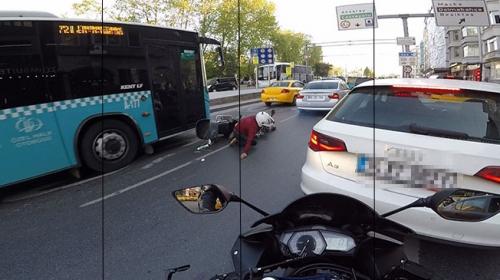 Motosiklet sürücüsü ölümden kıl payı kurtuldu