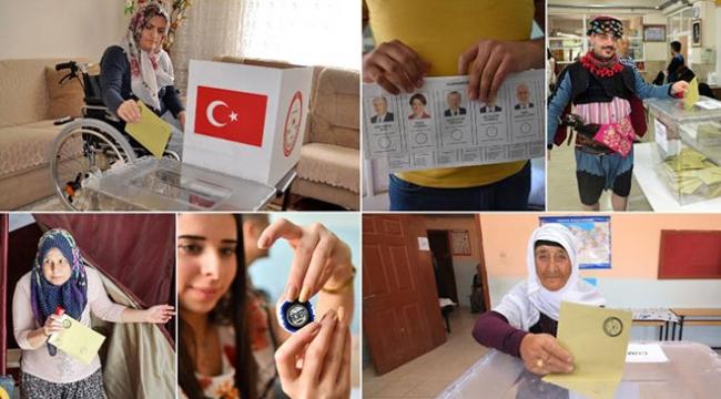 Türkiyenin dört bir yanından seçim kareleri