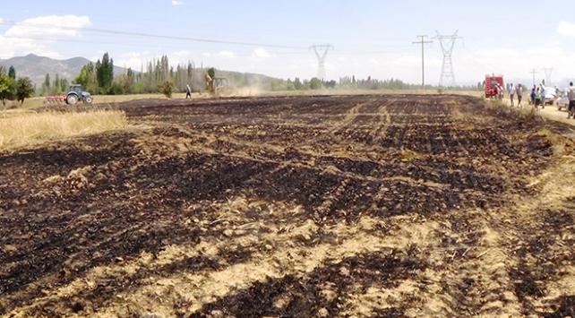 Konya Seydişehirde buğday tarlası yandı
