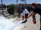 Kırşehir'de sağlık çalışanları yangın söndürme tatbikatı yaptı