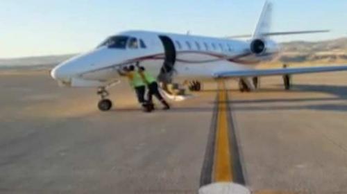 Nevşehirde havalimanında özel jeti iterek çalıştırdılar