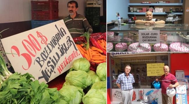 Esnaf ve vatandaşlardan Türk lirasına destek