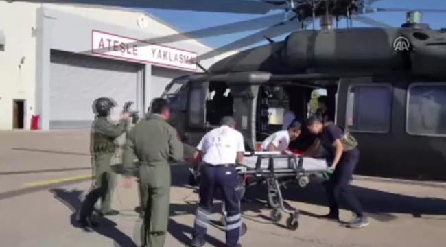 Hamile kadın hastaneye askeri helikopter ile taşındı