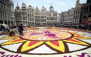 Brükselde Latin motifli dev çiçek halı ilgi topluyor