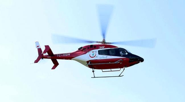 Samsunda yaşlı kadının imdadına ambulans helikopter yetişti