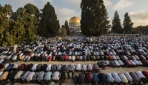 Filistinliler bayram namazını Mescid-i Aksada kıldı