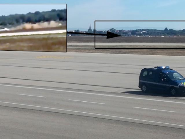 Fransada havalimanı pistinde film gibi kovalamaca