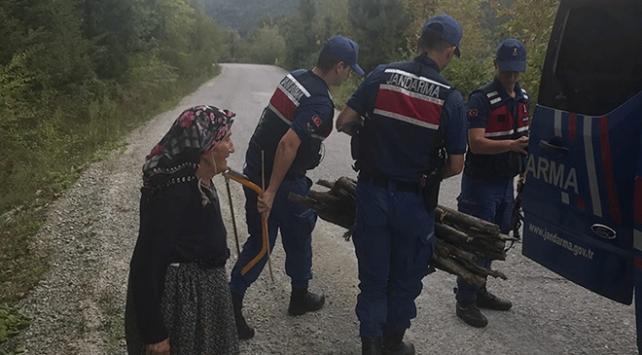 Odun taşıyan yaşlı kadına jandarma yardım etti