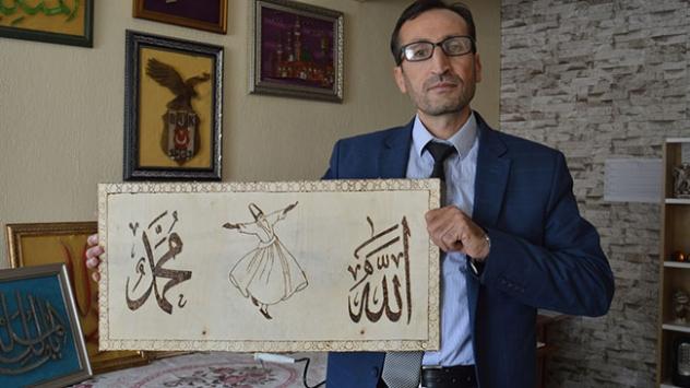 Filografi ve ahşap yakma ustası imamın eserleri ilgi görüyor