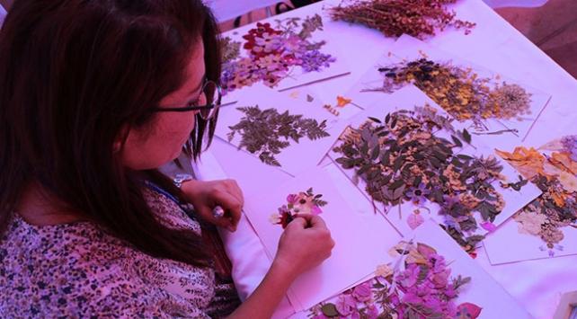 Kitapların arasında kuruttuğu bitkileri yaprak sanatına dönüştürdü
