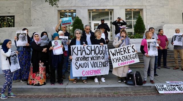 Suudi Arabistanın Washington Büyükelçiliği önünde Kaşıkçı protestosu
