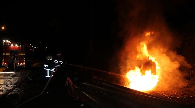 Zonguldakta iş makinesi yandı