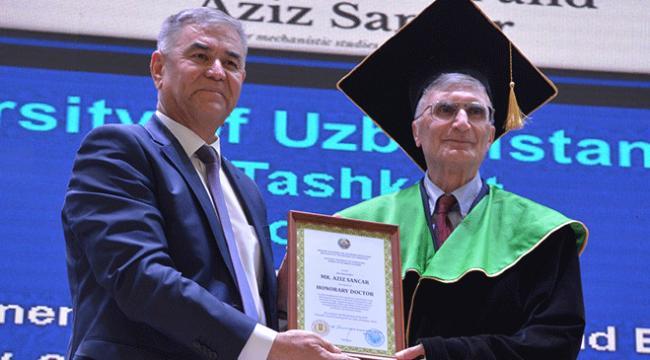 Nobel ödüllü Aziz Sancara Özbekistanda fahri doktora verildi