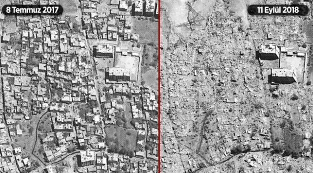 Esed rejimi yerlerinden edilenlerin evlerini yıkıyor