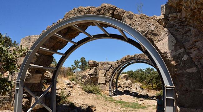 Çanakkalede 2 bin yıllık hamam çelik konstrüksiyonlarla desteklendi
