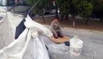 Suriyeli çocuk topladığı kartonun üzerinde namaz kıldı