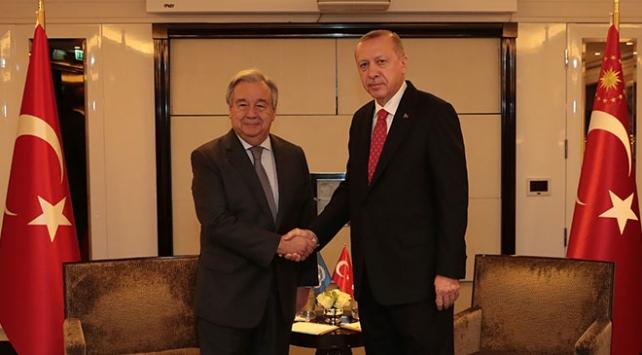 Cumhurbaşkanı Erdoğan BM Genel Sekreteri Guterres ile görüştü