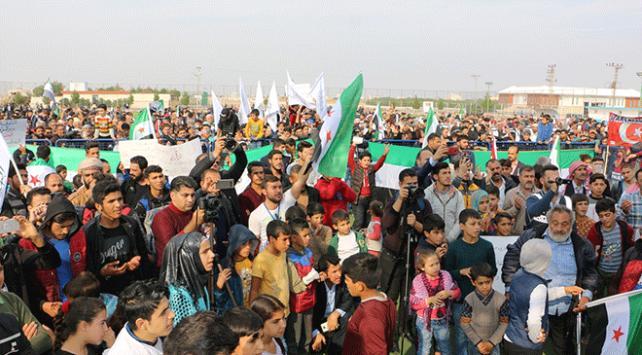 Suriyelilerden terör örgütü YPG/PKKya protesto
