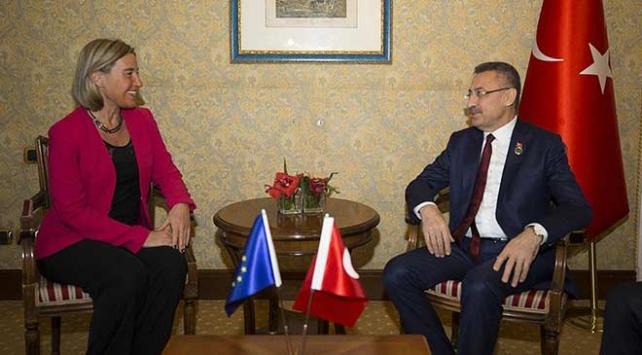 Cumhurbaşkanı Yardımcısı Oktay, AB Yüksek Temsilcisi Mogherini ile görüştü