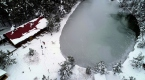 Limni Gölünde kar güzelliği büyülüyor