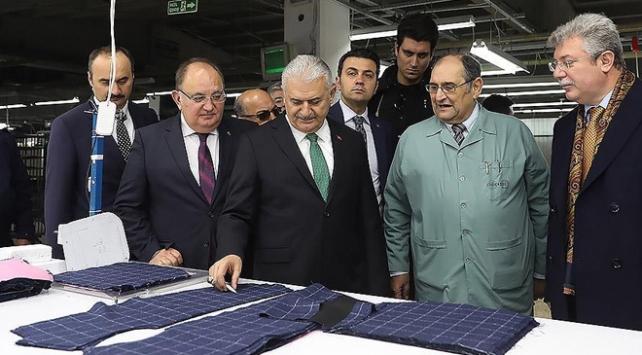 TBMM Başkanı Yıldırım Edirnede giyim fabrikasını ziyaret etti