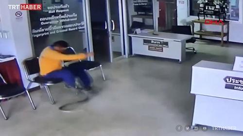 Şikayet için polis merkezine giden adama yılan saldırdı