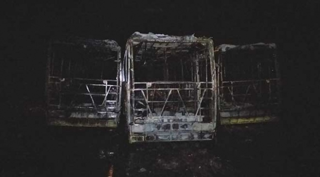 Tekirdağda 3 halk otobüsü yandı