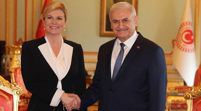 TBMM Başkanı Yıldırım, Hırvatistan Cumhurbaşkanı Kitaroviçle görüştü